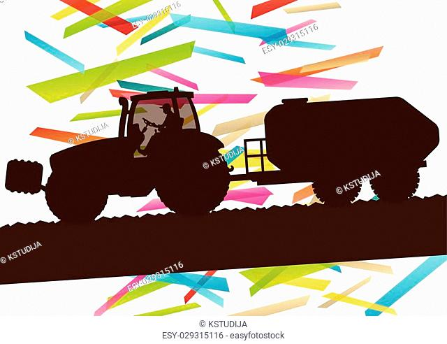 Agriculture machinery farm tractor vector illustration in farming landscape abstract background concept