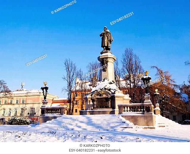 Monument of Adam Mickiewicz in Warsaw - capital city of Poland