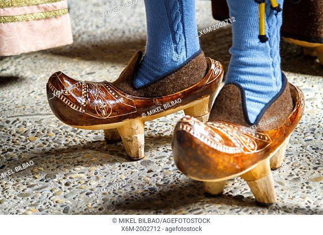 Traditional shoes or clogs or almadreñas. Fiesta del Orujo (Orujo fair). Potes, Comarca de Liébana, Cantabria, Spain