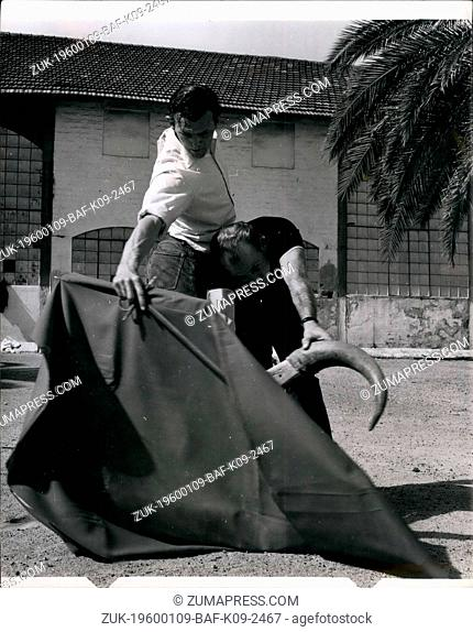 1963 - John Fulton Short practising cape and various movements with 'el toro', alias Bill Hedrick, 28, another fighter friend known professionally as El...