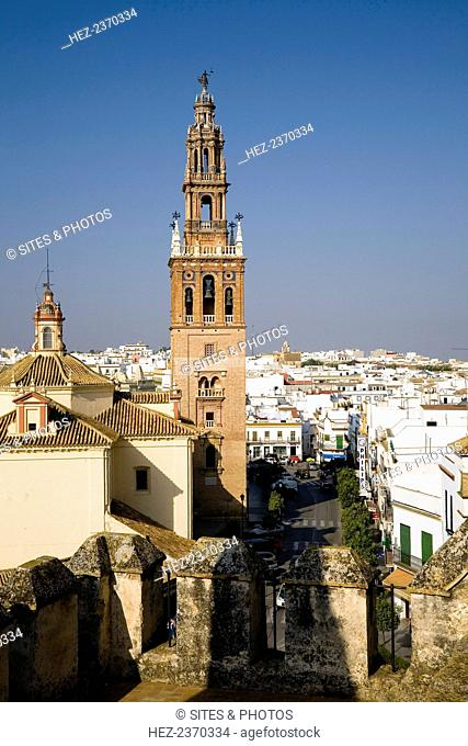 The Church of San Pedro, Carmona, Spain, 2007. With its majestic steeple and bell towers, this church stands near the Gate of Seville, outside of the city walls