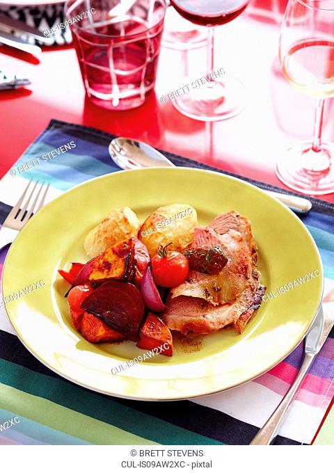 Roast lamb and duck fat potatoes