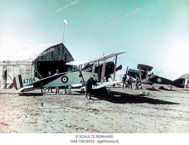 Airplane, biplane, Bristol, Fighter, aircraft, Australian, Flying Corps, El Mejdel, base, pilot, Ottoman Empire, Middle East, World War I, War, World War