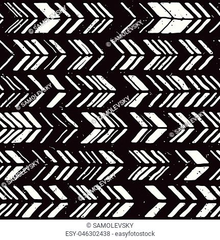 Seamless hand drawn style chevron pattern in black and white. Abstract vector grungy background