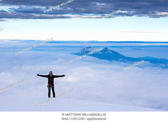 Climber on the 5897m summit of Cotopaxi Volcano, Cotopaxi Province, Ecuador, South America