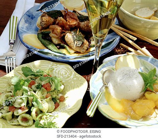 Italian menu with pasta, involtini and panna cotta (1)