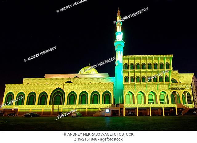 Sharjah Light Festival, mosque Masjid Al Malek, emirate Sharjah, United Arab Emirates, Near East