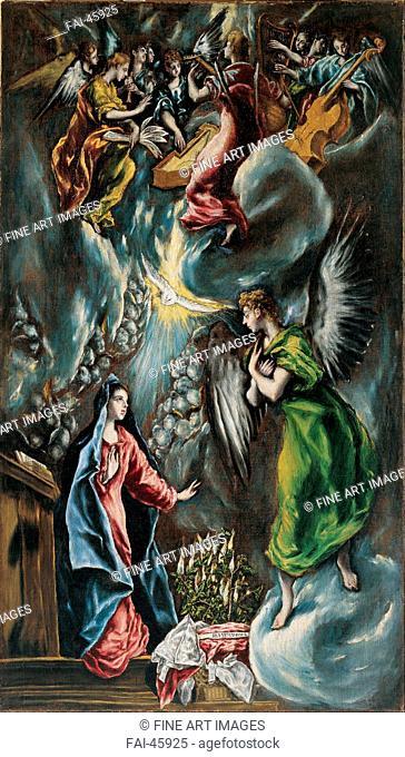 The Annunciation by El Greco, Dominico (1541-1614)/Oil on canvas/Mannerism/ca 1596-1600/Spain/Museo de Bellas Artes de Bilbao/113x65/Bible/Painting/Die...