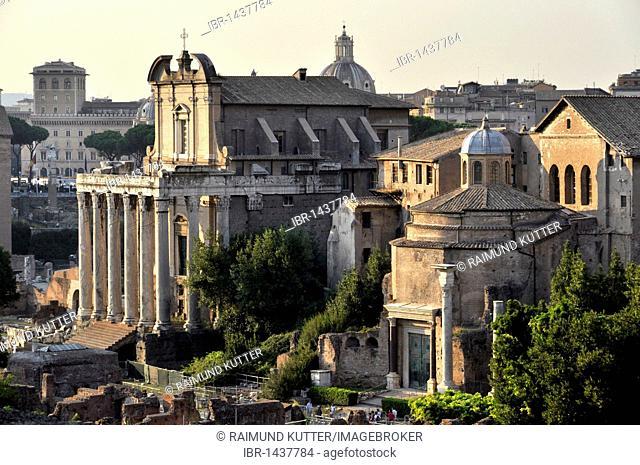 Temple of Antoninus and Faustina or Church of San Lorenzo in Miranda, Temple of Romulus or Santi Cosma e Damiano, Forum Romanum, Roman Forum, Rome, Lazio, Italy