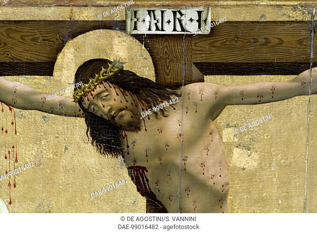 Christ on the Cross, detail from the altarpiece of Prejmer Fortified Church (13th century), Romania