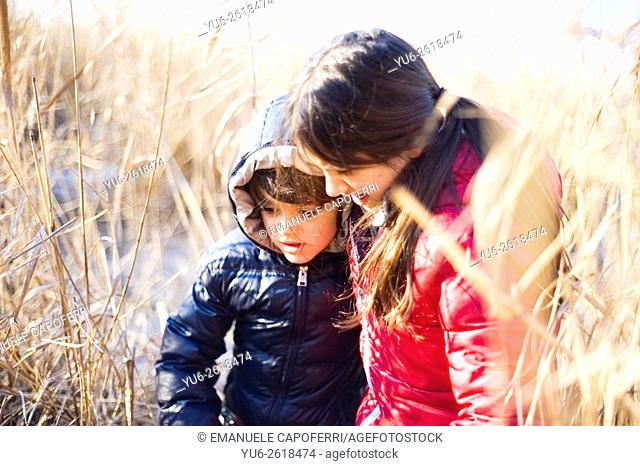portrait of children in canes on the beach of the lake in winter, Lake Maggiore, Ispra, Italy