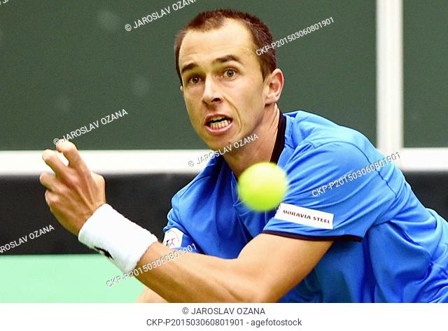 Czech tennis player Lukas Rosol plays against Australian Thanasi Kokkinakis during the first match of Davis Cup first round Czech Republic vs Australia in...