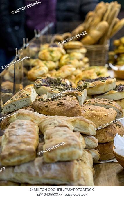 Artisan bread on sale on a market stall in London