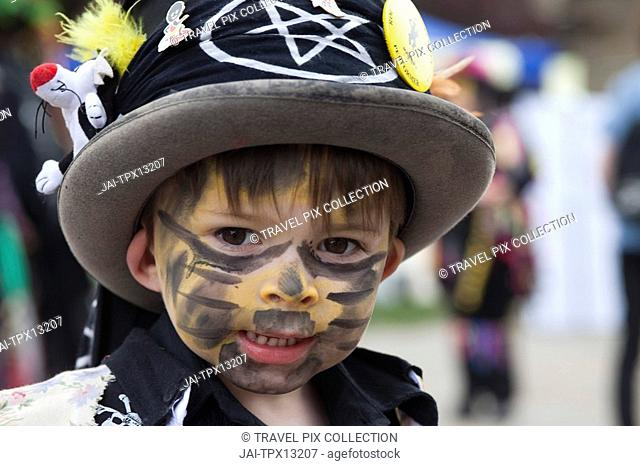England, Kent, Rochester, Young Morris Dancer at the Annual Sweeps Festival