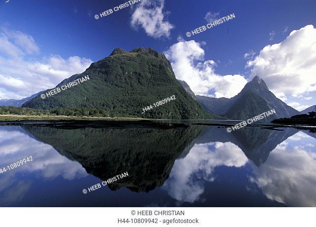 Fiordland, national park, South Island, Milford Sound, Mitre Peak, New Zealand, landscape, waters