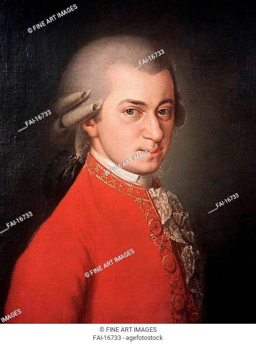 Portrait of the composer Wolfgang Amadeus Mozart (1756-1791). Krafft (1764-1825). Oil on canvas. Classicism. 1819. Gesellschaft der Musikfreunde, Vienna
