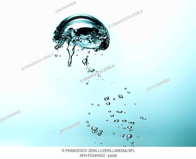 Air bubbles in liquid