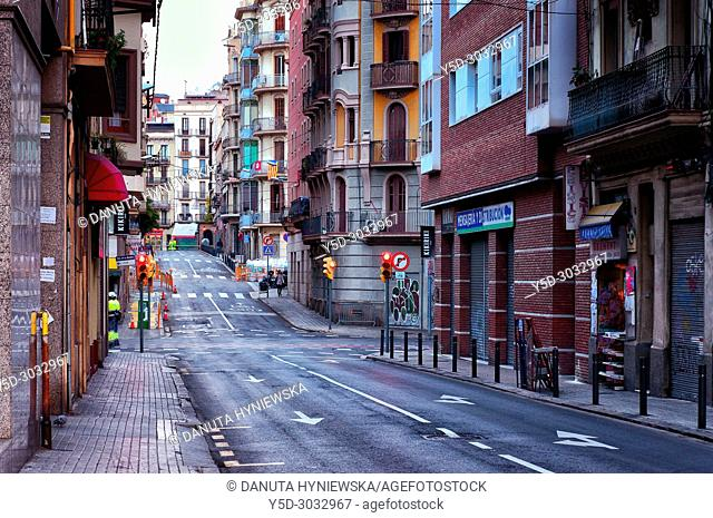 Carrer de Sant Roc, typical side street, Sants-Montjuïc, Barcelona, Catalonia, Spain, Europe