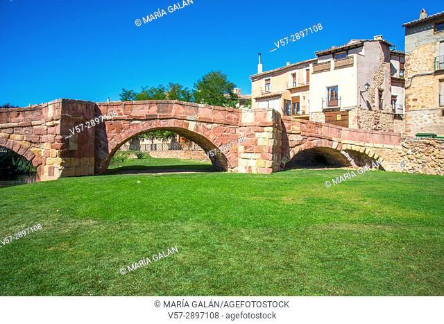 Medieval bridge over river Gallo. Molina de Aragon, Guadalajara province, Castilla La Mancha, Spain