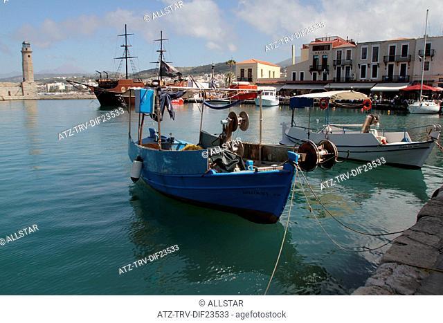 FISHING BOATS & HARBOUR BUILDINGS; RETHYMNON, CRETE, GREECE; 02/05/2014