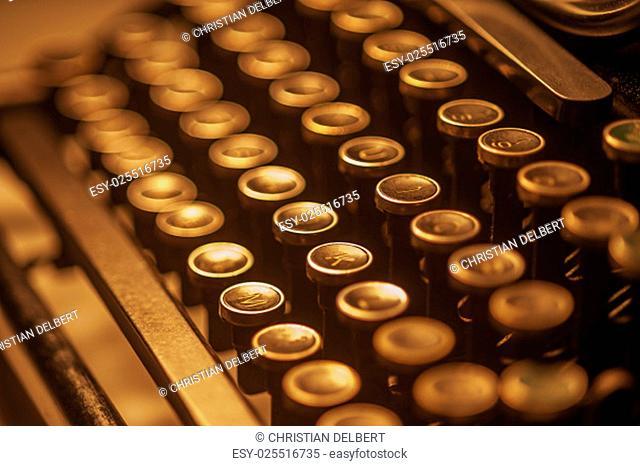 Typewriter keys in sepia