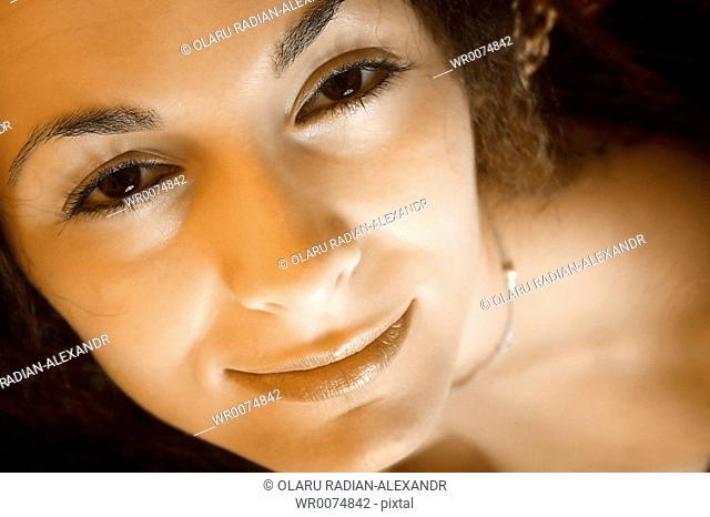 Macro image of a girl face
