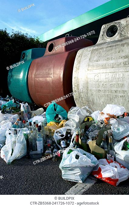 Garbage collected for recycling with containers