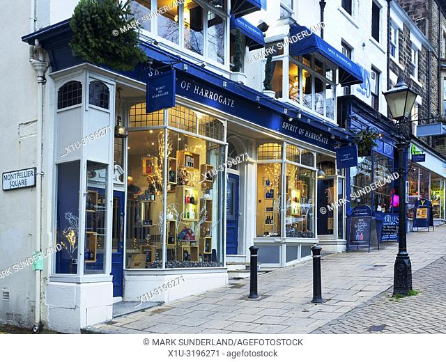 Shops on Montpellier Parade in Harrogate North Yorkshire England