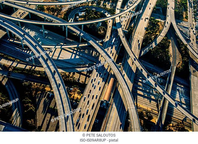 Aerial view of curved flyovers and highways, Los Angeles, California, USA