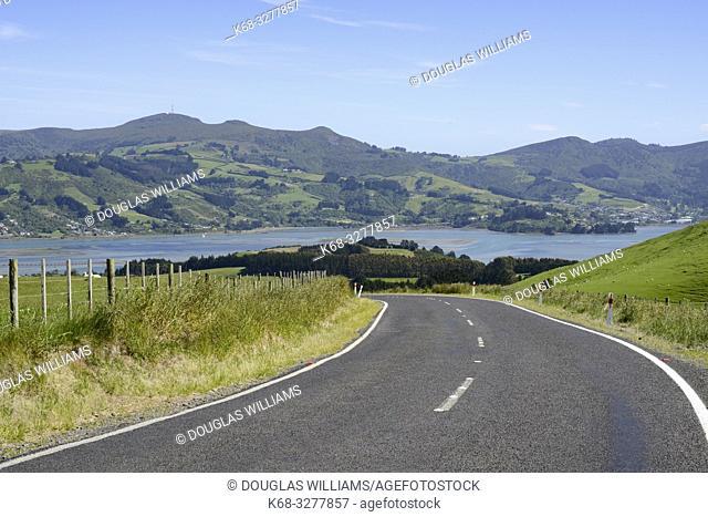 Highway on the Otago Peninsula, South Island, New Zealand