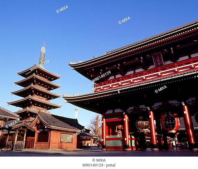 Hozomon and Five Story Pagoda of Sensoji Temple, Taito, Tokyo, Japan
