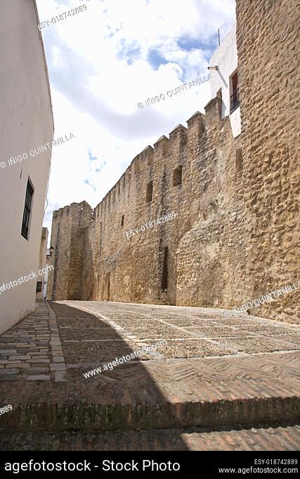 castle wall street at Vejer village