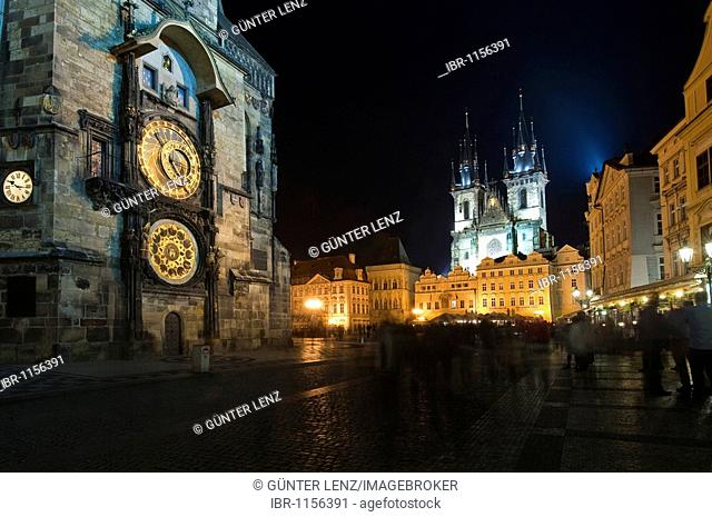 Astronomical Clock and Teyn Church or Church of Our Lady before Týn at Old Town Square, Staromestske Namesti, Prague, Czech Republic, Europe