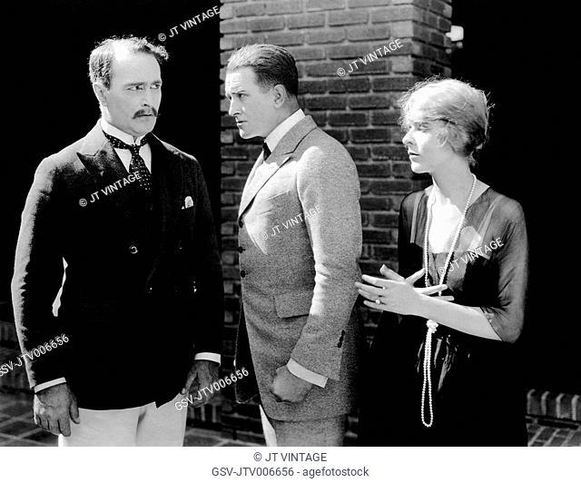 Spottiswoode Aitken, Wheeler Oakman, Blanche Sweet, on-set of the Silent Film A Woman of Pleasure 1919