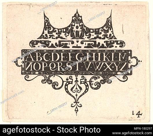 Blackwork Print with the Alphabet. Publisher: Claes Jansz. Visscher (Dutch, Amsterdam 1586-1652 Amsterdam); Date: ca. 1620; Medium: blackwork; Dimensions:...