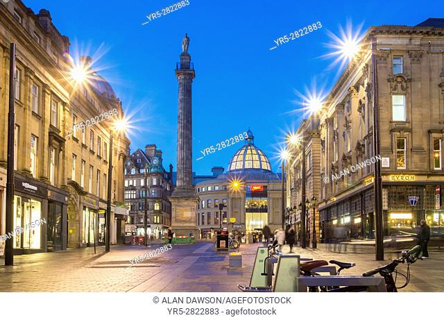 View down Grey street towards Grey`s Monument at dusk. Newcastle upon Tyne, England. United Kingdom