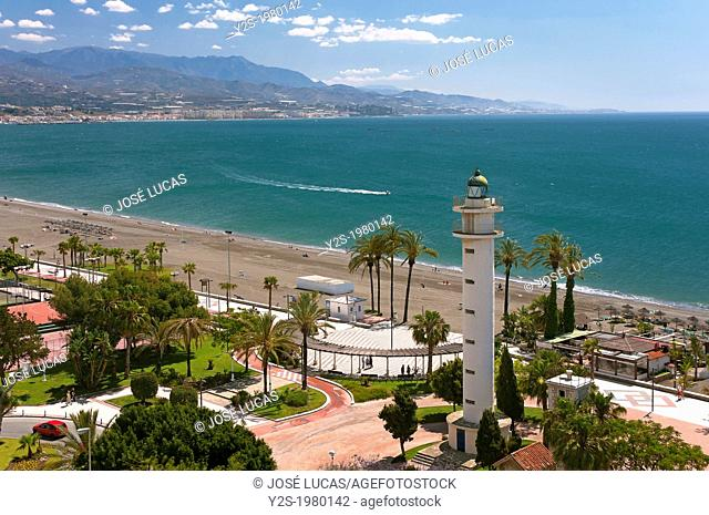 Beach and the lighthouse, Torre del Mar, Malaga-province, Andalusia, Spain, Europe