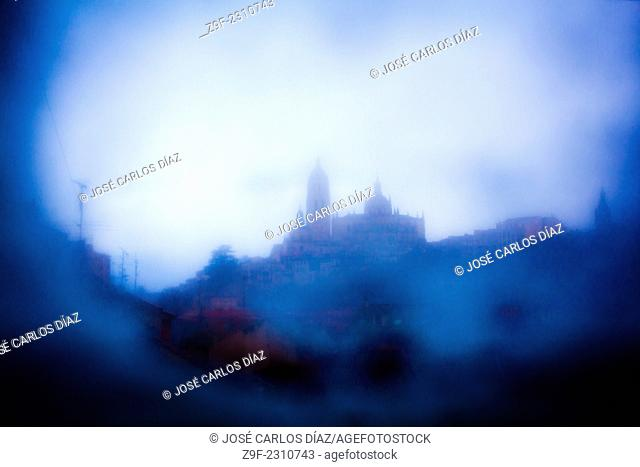 The Cathedral of Segovia behind an iced glass, Segovia, Castilla-Leon, Spain, Europe
