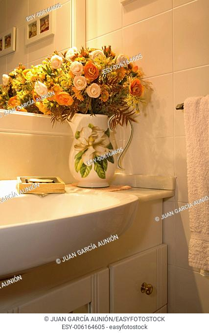 Vase with dried flowers decor in bathroom, Spain