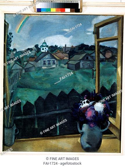 Window in Vitebsk. Chagall, Marc (1887-1985). Oil on canvas. Russian avant-garde. 1908. Private Collection. 67x58. Painting. © VG-Bild-Kunst Bonn