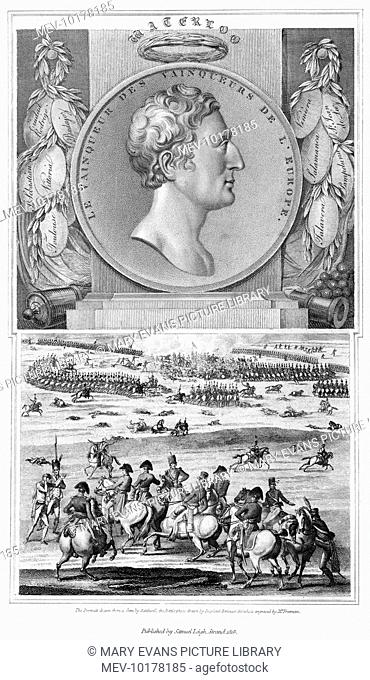 WELLINGTON as military hero - labels bear the names of some of his Peninsula victories, and he is seen directing a battle : this is before Waterloo