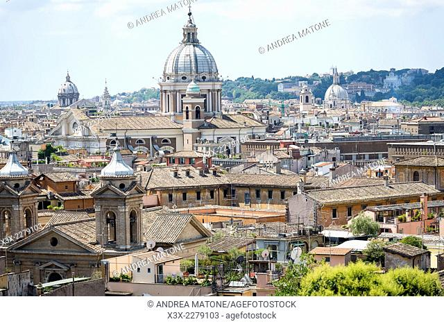 The roman rooftops viewed from Parco del Pincio in Rome, Italy