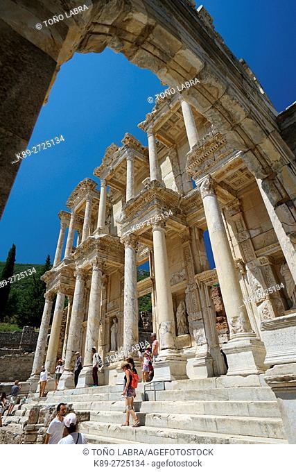 Library of Celcus (117 AD) by Governor Gaius Julius Celsus. Ephesos. Ancient Greece. Asia Minor. Turkey