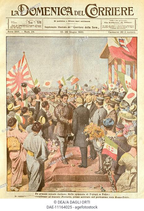 Arturo Ferrarin, the long-distance flyer being welcomed in Tokyo as the first to arrive on the Rome-Tokyo route. Illustrator Achille Beltrame (1871-1945)