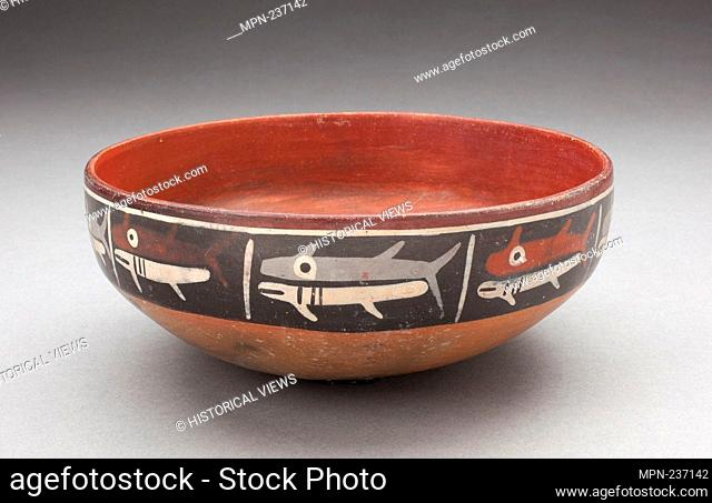 Bowl Depicting Row of Fish or Sharks Separated by Vertical Lines - 180 B.C./A.D. 500 - Nazca South coast, Peru - Artist: Nazca, Origin: Nazca Valley
