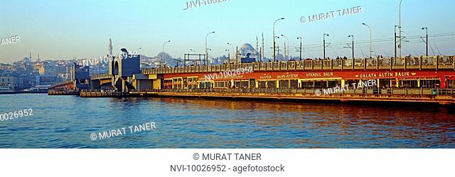Galata Bridge and Süleymaniye Mosque, Istanbul, Turkey