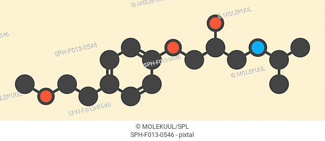 Metoprolol high blood pressure drug molecule (beta blocker). Stylized skeletal formula (chemical structure). Atoms are shown as color-coded circles: hydrogen...