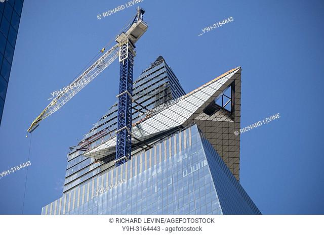 30 Hudson Yards, showing the cantilevered observation deck under construction, in Hudson Yards in New York on Thursday, August 23, 2018. (© Richard B