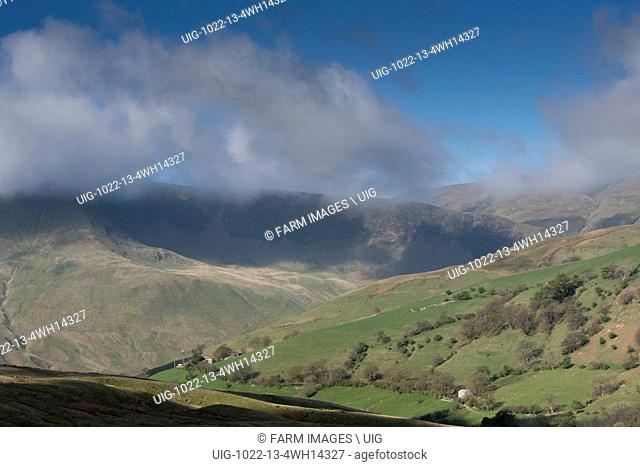 Western Howgill fells from Fell End looking towards Cautley Crag in Cumbria and just inside the Yorkshire Dales National Park
