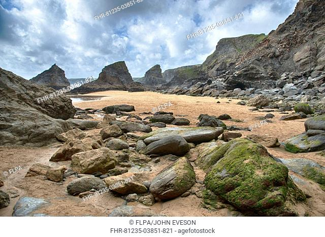 View of beach with slate outcrops, Bedruthan Steps, Bedruthan, Cornwall, England, june